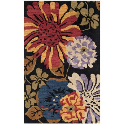 Jardin Black/Multi Floral Area Rug Rug Size: Rectangle 4 x 6