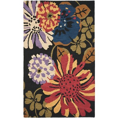 Jardin Black/Multi Floral Area Rug Rug Size: Rectangle 5 x 8