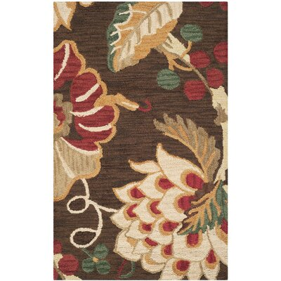 Jardin Brown/Multi Floral Area Rug Rug Size: 3 x 5
