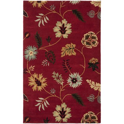 Jardin Red/Multi Floral Rug Rug Size: 5 x 8