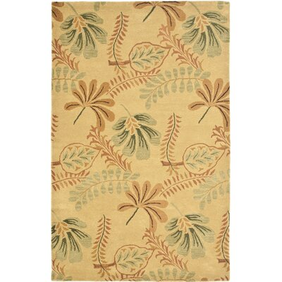 Jardin Beige/Multi Leaves Area Rug Rug Size: Square 6