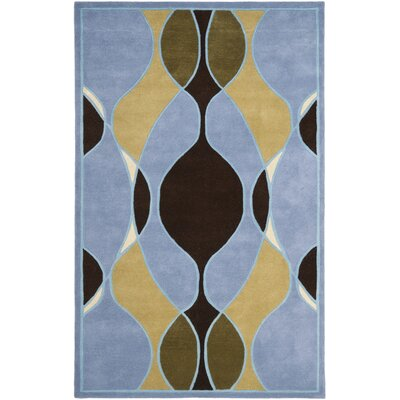 Soho Blue Swirl Area Rug Rug Size: Rectangle 76 x 96