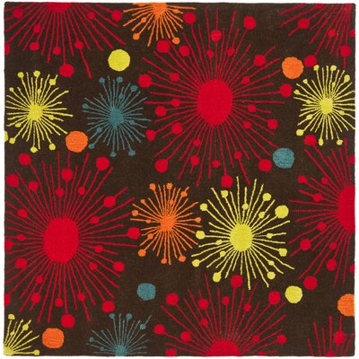 Soho Brown Fireworks Area Rug Rug Size: Square 6
