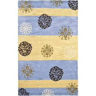 Soho Gold/Blue Area Rug Rug Size: 36 x 56