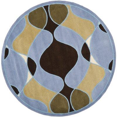 Soho Blue Swirl Area Rug Rug Size: Round 6