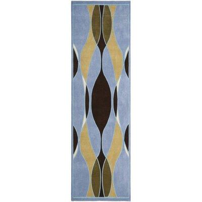 Soho Blue Swirl Area Rug Rug Size: Runner 26 x 8