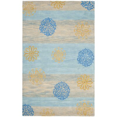 Soho Blue Stripe Area Rug Rug Size: Rectangle 76 x 96
