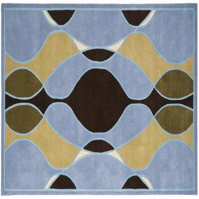 Soho Blue Swirl Area Rug Rug Size: Square 6