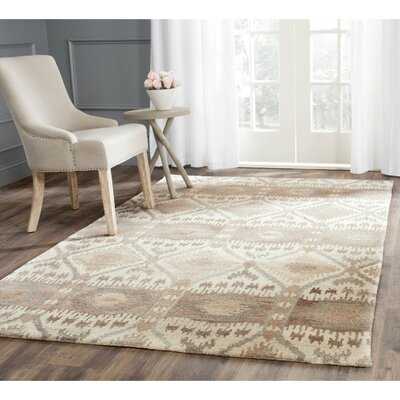 Roberts Hand-Tufted Beige/Gray Area Rug Rug Size: Rectangle 5 x 8