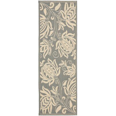 Courtyard Grey / Natural Indoor/Outdoor Rug Rug Size: Runner 2'4
