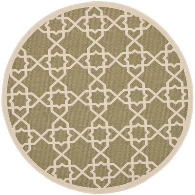 Bexton Green / Beige Indoor/Outdoor Rug Rug Size: Round 53