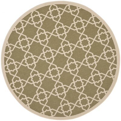 Bexton Green / Beige Indoor/Outdoor Rug Rug Size: Round 67