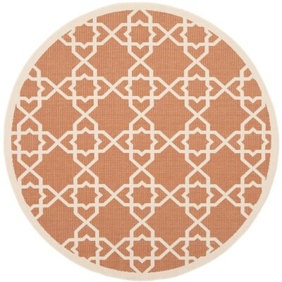 Courtyard Terracotta / Beige Indoor/Outdoor Rug Rug Size: Round 53