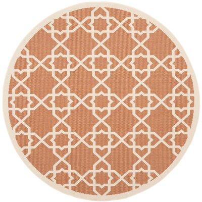 Courtyard Terracotta / Beige Indoor/Outdoor Rug Rug Size: Round 67