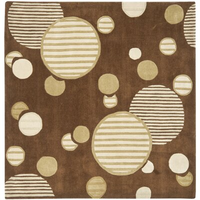 Charlize Hand-Tufted Brown Area Rug Rug Size: Square 7