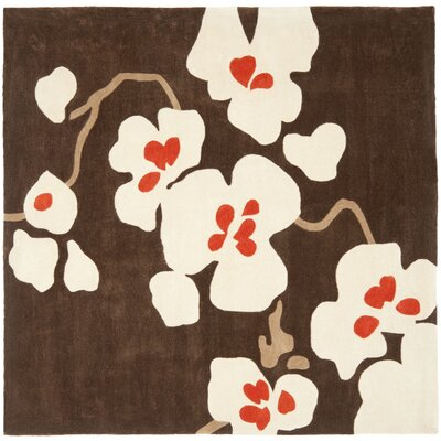 Modern Art Brown/Ivory Rug Rug Size: Square 7'
