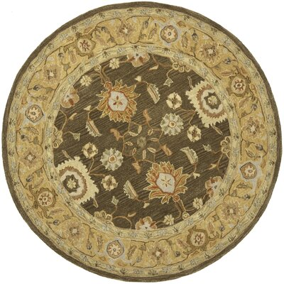 Anatolia Brown/Taupe Area Rug Rug Size: Round 8