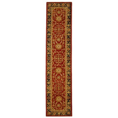 Anatolia Hand-Tufted/Hand-Hooked Red/Navy Area Rug Rug Size: Runner 23 x 10