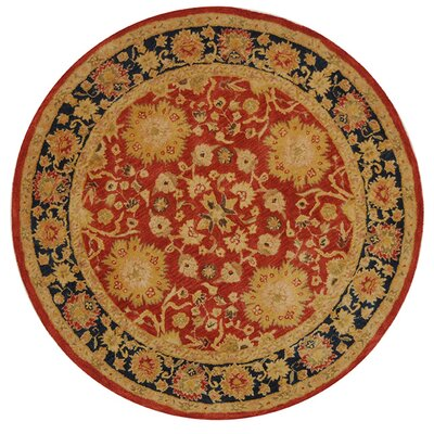 Anatolia Hand-Tufted/Hand-Hooked Red/Navy Area Rug Rug Size: Round 6