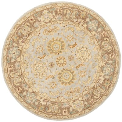 Anatolia Hand-Tufted Teal/Brown Area Rug Rug Size: Round 6