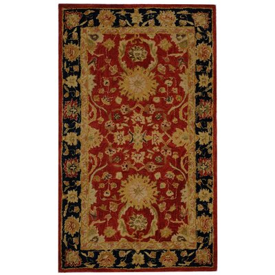 Anatolia Hand-Tufted/Hand-Hooked Red/Navy Area Rug Rug Size: Rectangle 96 x 136