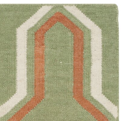 Dhurries Hand-Woven Green/Orange Contemporary Area Rug Rug Size: Runner 26 x 8