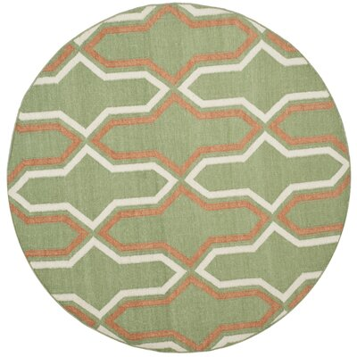 Dhurries Hand-Woven Green/Orange Contemporary Area Rug Rug Size: Round 6