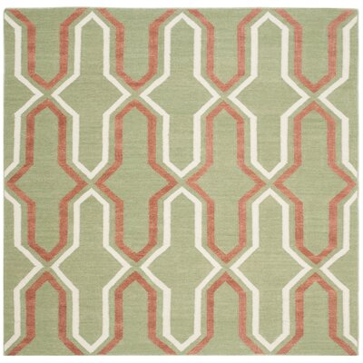 Dhurries Green / Orange Contemporary Area Rug Rug Size: Square 6