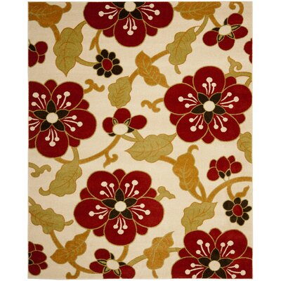 Newport Ivory/Red Area Rug Rug Size: Rectangle 3 x 5