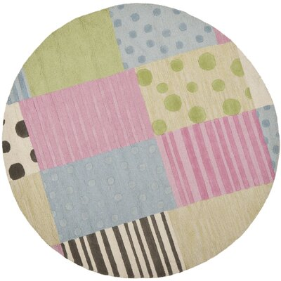 Claro Blue/Pink Area Rug Rug Size: Round 6