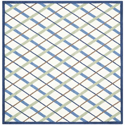 Kids Hand-Tufted Ivory/Blue Area Rug Rug Size: Square 6'