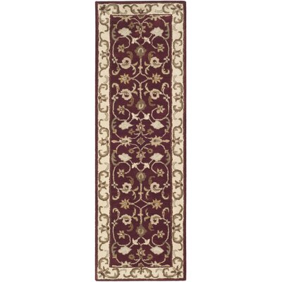Royalty Red/Ivory Rug Rug Size: Runner 23 x 7