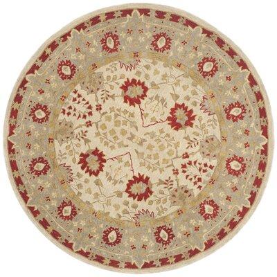Anatolia Ivory/Red Area Rug Rug Size: Round 6