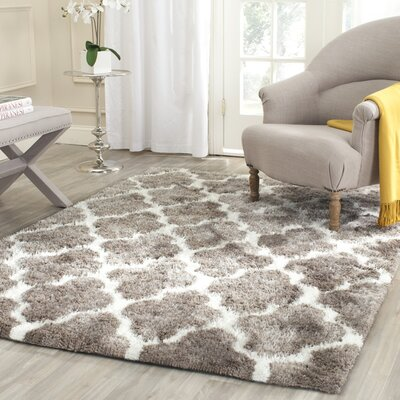 Barcelona Silver/White Area Rug Rug Size: 8' x 10'
