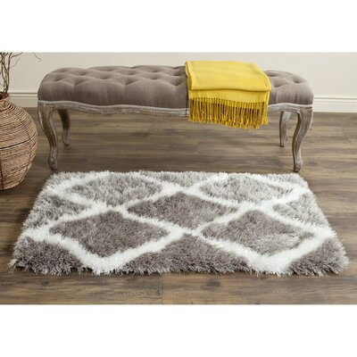 Barcelona Silver/White Area Rug Rug Size: 2'3