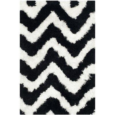Barcelona White/Black Area Rug Rug Size: 2'3