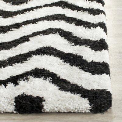 Barcelona White/Black Area Rug Rug Size: 23 x 4
