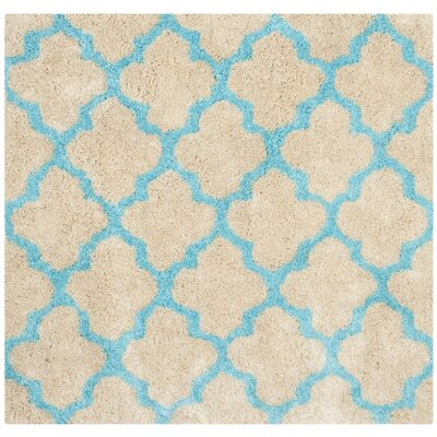 Barcelona Cream/Blue Area Rug Rug Size: Square 5