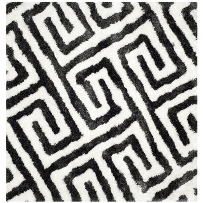 Barcelona Graphite & White Area Rug Rug Size: Square 5