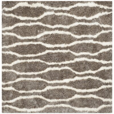 Barcelona Silver/White Area Rug Rug Size: Square 5