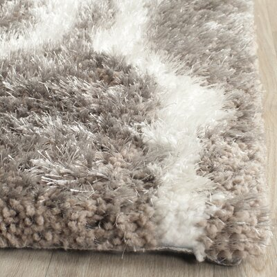 Barcelona Silver/White Area Rug Rug Size: Rectangle 5 x 8