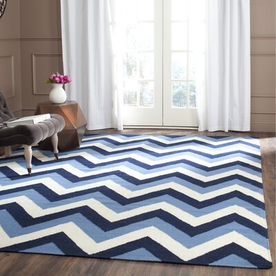Dhurries Hand-Woven Navy/Light Blue Area Rug Rug Size: Rectangle 5 x 8
