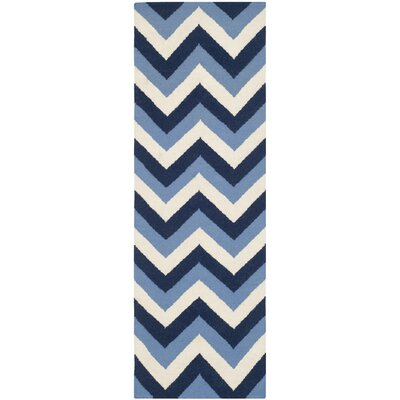 Dhurries Hand-Woven Navy/Light Blue Area Rug Rug Size: Runner 26 x 8