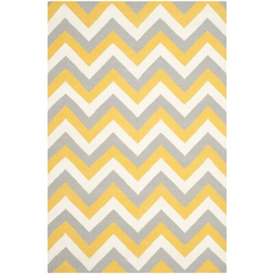 Dhurries Gold/Grey Chevron Area Rug Rug Size: Square 6'