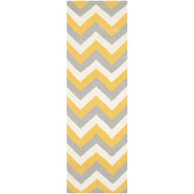 Dhurries Gold/Grey Chevron Area Rug Rug Size: Runner 2'6