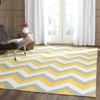 Dhurries Gold/Grey Chevron Area Rug Rug Size: Square 6
