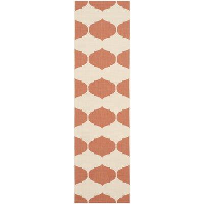 Courtyard Beige / Terracotta Contemporary Rug Rug Size: Runner 2'3