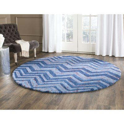 Anaheim Hand-Woven Cotton Blue Area Rug Rug Size: Round 4