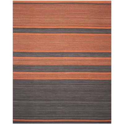 Kilim Dark Grey / Orange Striped Rug Rug Size: 9 x 12