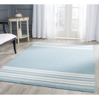 Dhurries Cotton Turquoise Area Rug Rug Size: Square 6